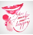 Lips painted in watercolor vector image vector image
