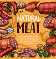 meat poster with sausage knife and spice sketch vector image
