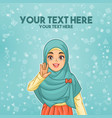 muslim woman waving with her palm vector image vector image