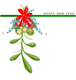 New Year Card with Mistletoe with A Red Bow vector image vector image