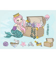 ocean clip arts mermaids treasures color vector image