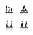 Oil platforms drop shadow icons set vector image vector image