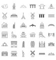 paris icons set outline style vector image vector image