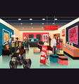 people shopping in a furniture store vector image vector image