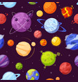 planets in outer space cartoon flat seamless vector image vector image