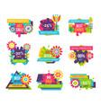 premium quality super sale label set cartoon buds vector image vector image