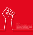raised fist minimal line design background for vector image