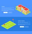 school stadium and educational establishment 3d vector image