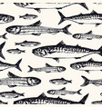 seamless pattern with ocean and sea fishes in vector image
