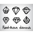 set hand-drawn diamond icons vector image vector image