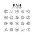 set line icons fan vector image vector image