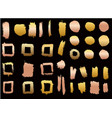 set of golden style brush strokes design element vector image vector image