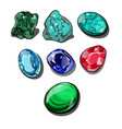 set of precious stones isolated on white vector image