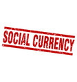 square grunge red social currency stamp vector image vector image