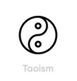 taoism religion icon editable line vector image vector image