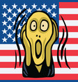 the screaming head on american flag background vector image