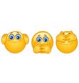 three monkeys emoticons vector image vector image