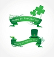 vector green ribbon with clover vector image vector image