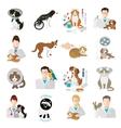veterinary icon flat set vet clinic pets vector image vector image