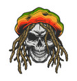 vintage colorful rastaman skull template vector image
