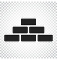 wall brick icon in flat style on isolated vector image vector image