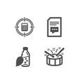water bottle calculator target and comments icons vector image vector image