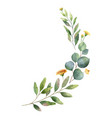 Watercolor wreath with green eucalyptus