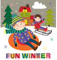 winter poster with kids on sled vector image vector image