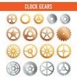 clock gears metal icons isolated on white vector image