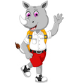 funny male rhino cartoon going to school vector image