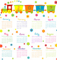 2017 Calendar with toy train and flowers vector image