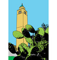 a minaret rises majestically in a suburb of tunis vector image vector image