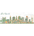 abstract fort worth skyline with color buildings vector image vector image