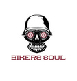 bikers soul concept with skull vector image vector image