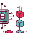 bitcoin microchip icon vector image