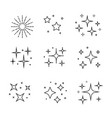black sparkles symbols set stars vector image