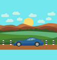 blue car on the road vector image