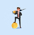 businessman holds jackhammer mining bitcoins vector image vector image