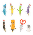 cartoon characters of different drawing tools vector image vector image
