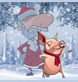 cartoon santa claus stands with a pig which vector image