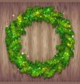 christmas wreath on wood background vector image