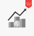 Coins with arrow icon Income growth concept Flat vector image vector image