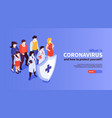 coronavirus protection isometric banner vector image vector image