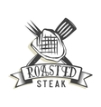 Creative logo design with steak vector image vector image