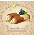 Crepes with cream emblem vector image vector image