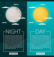 day and night or banners sun and moon vector image vector image