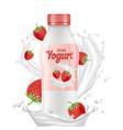 drink yogurt realistic bottle milk splashes and vector image vector image