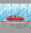 exhibition pavilion dealership with red car vector image