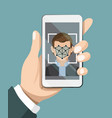 face recognition system hand holding smartphone vector image vector image