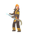 firefighter in safety helmet and protective suit vector image